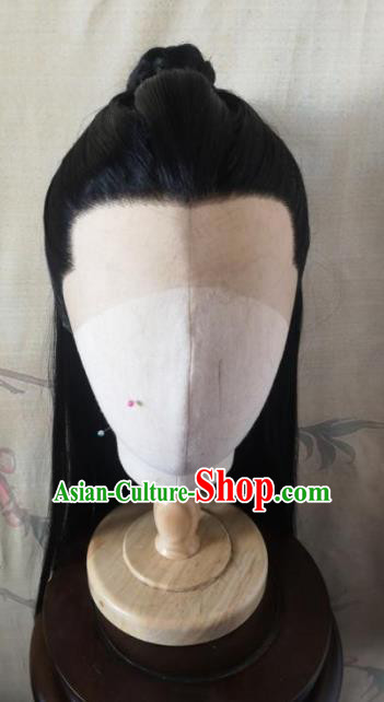 Traditional Chinese Cosplay Nobility Childe Black Wigs Ancient Swordsman Wig Sheath Hair Accessories for Men