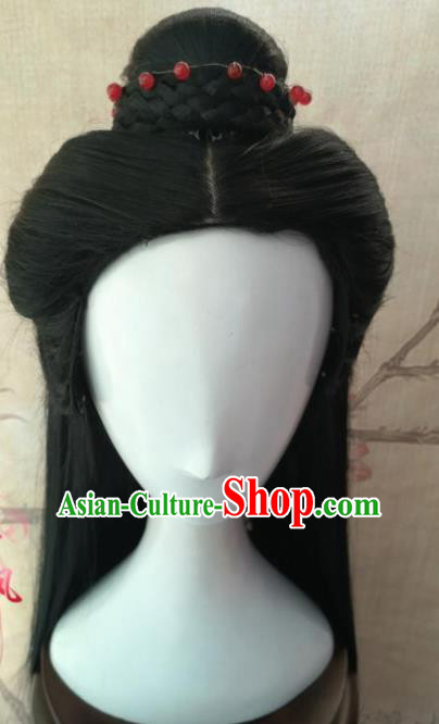 Chinese Traditional Cosplay The Legendary Swordsman Ren Yingying Wigs Ancient Swordswoman Wig Sheath Hair Accessories for Women
