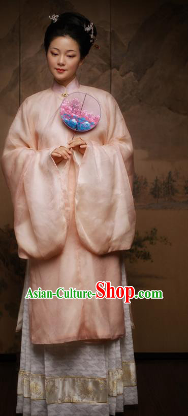 Traditional Chinese Ming Dynasty Court Queen Pink Hanfu Dress Ancient Imperial Empress Replica Costumes for Women