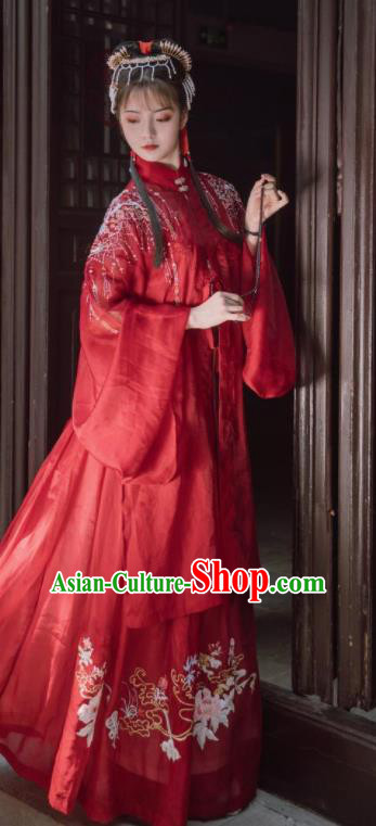 Traditional Chinese Ming Dynasty Rich Lady Red Hanfu Dress Ancient Bride Wedding Replica Costumes for Women