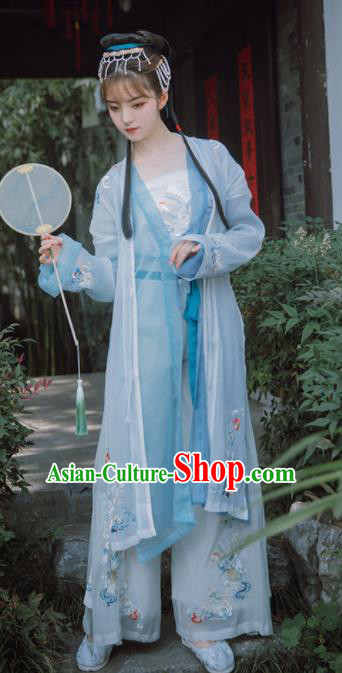Traditional Chinese Song Dynasty Nobility Lady Blue Dress Ancient Hanfu Princess Replica Costumes for Women