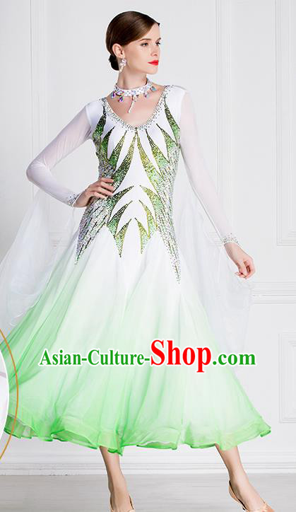 Professional International Waltz Dance Light Green Dress Ballroom Dance Modern Dance Competition Costume for Women