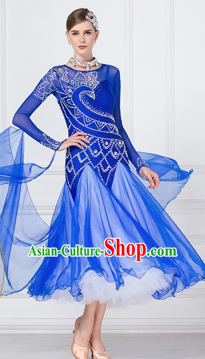 Professional International Waltz Dance Royalblue Dress Ballroom Dance Modern Dance Competition Costume for Women