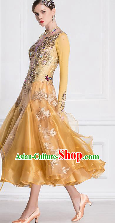 Professional International Waltz Dance Golden Dress Ballroom Dance Modern Dance Competition Costume for Women