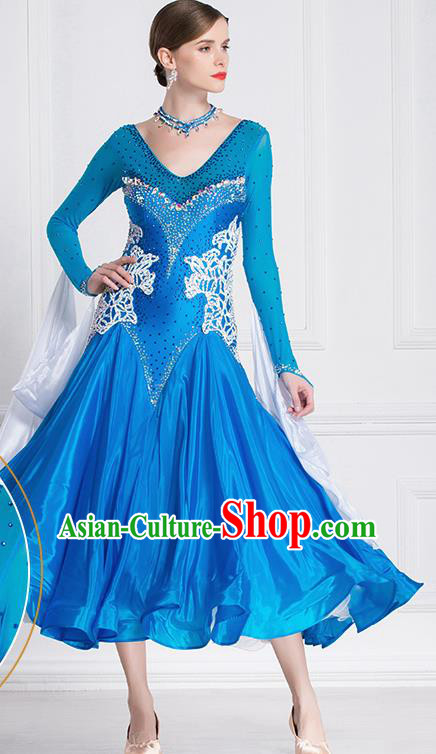 Professional International Waltz Dance Blue Dress Ballroom Dance Modern Dance Competition Costume for Women
