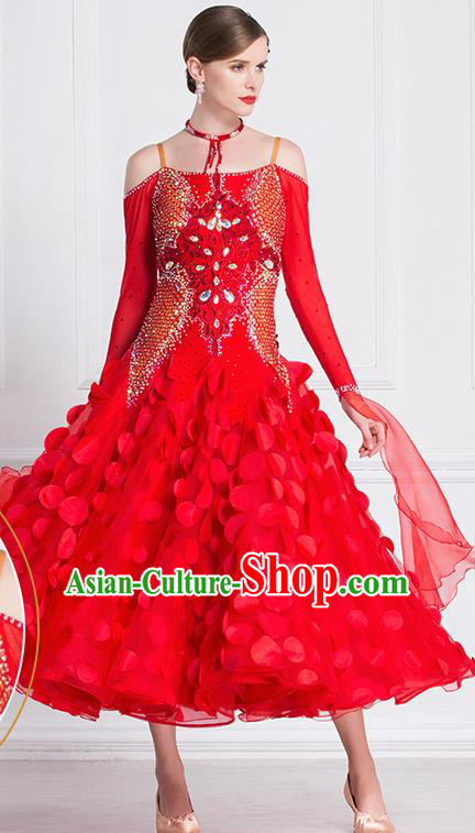 Professional International Waltz Dance Red Dress Ballroom Dance Modern Dance Competition Costume for Women