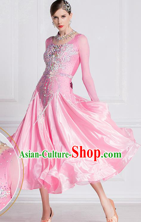 Professional International Waltz Dance Pink Dress Ballroom Dance Modern Dance Competition Costume for Women