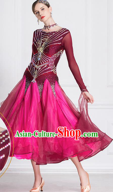 Professional International Waltz Dance Wine Red Dress Ballroom Dance Modern Dance Competition Costume for Women