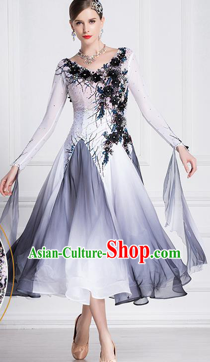 Professional International Waltz Dance Grey Dress Ballroom Dance Modern Dance Competition Costume for Women