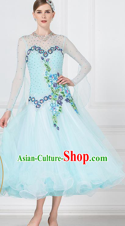 Professional International Waltz Dance Light Blue Dress Ballroom Dance Modern Dance Competition Costume for Women