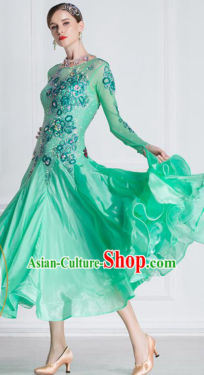 Professional International Waltz Dance Green Dress Ballroom Dance Modern Dance Competition Costume for Women