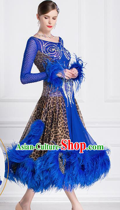 Professional International Waltz Dance Royalblue Feather Dress Ballroom Dance Modern Dance Competition Costume for Women