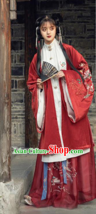 Traditional Chinese Ming Dynasty Princess Red Dress Ancient Hanfu Royal Female Replica Costumes for Women