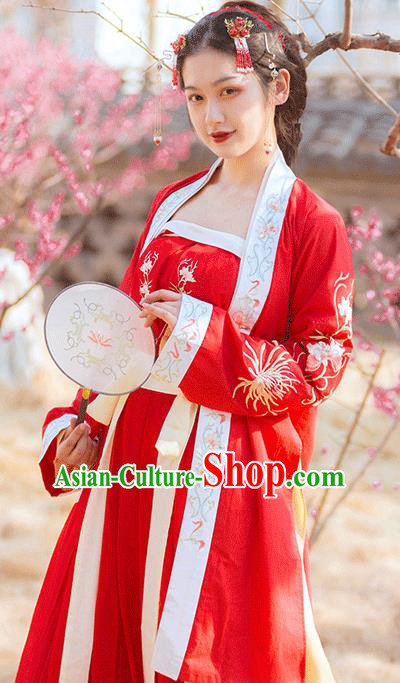 Traditional Chinese Song Dynasty Female Civilian Red Embroidered Dress Ancient Hanfu Replica Costumes for Women