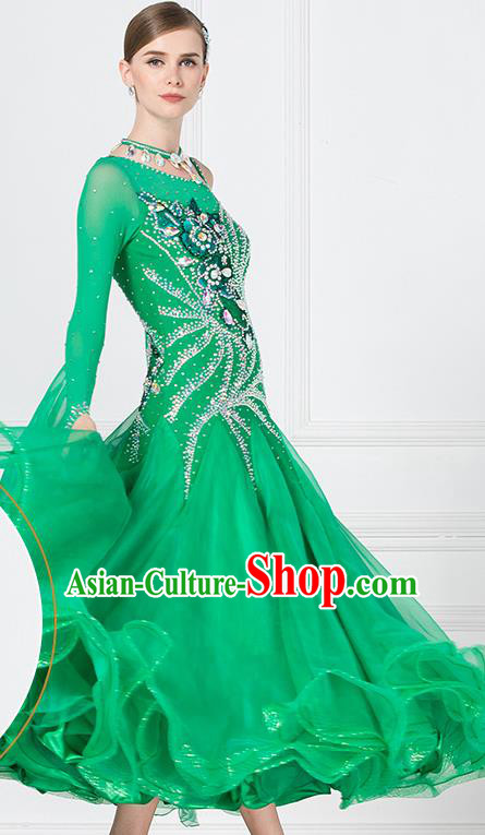 Professional Waltz Tango Competition Green Dress Modern Dance International Ballroom Dance Costume for Women