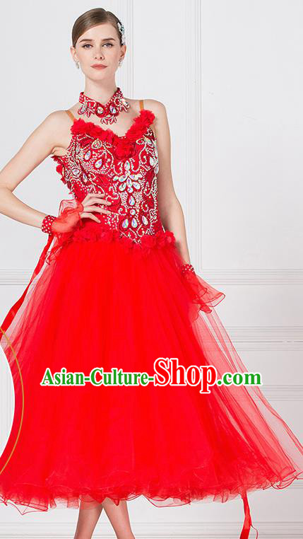 Professional Waltz Tango Competition Red Dress Modern Dance International Ballroom Dance Costume for Women