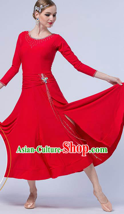 Professional Waltz Competition Red Dress Modern Dance International Ballroom Dance Costume for Women