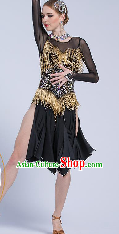 Top Latin Dance Competition Black Dress Modern Dance International Rumba Dance Costume for Women