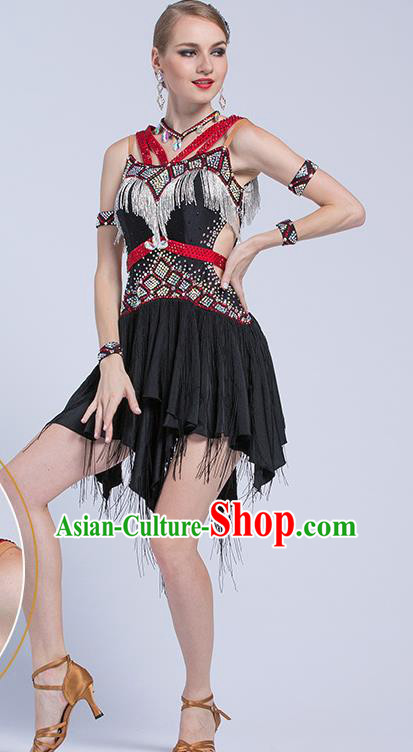 Top Latin Dance Competition Black Tassel Dress Modern Dance International Rumba Dance Costume for Women