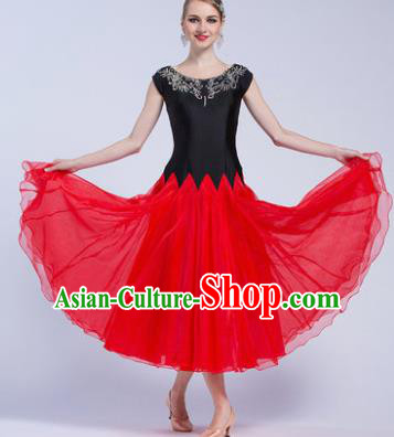 Professional Modern Dance Waltz Competition Red Veil Dress International Ballroom Dance Costume for Women