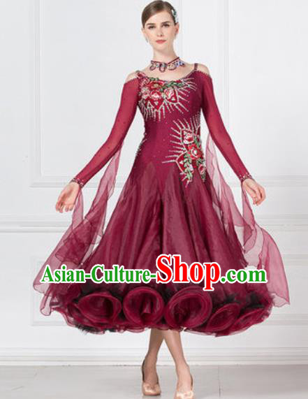 Professional Modern Dance Waltz Wine Red Dress International Ballroom Dance Competition Costume for Women
