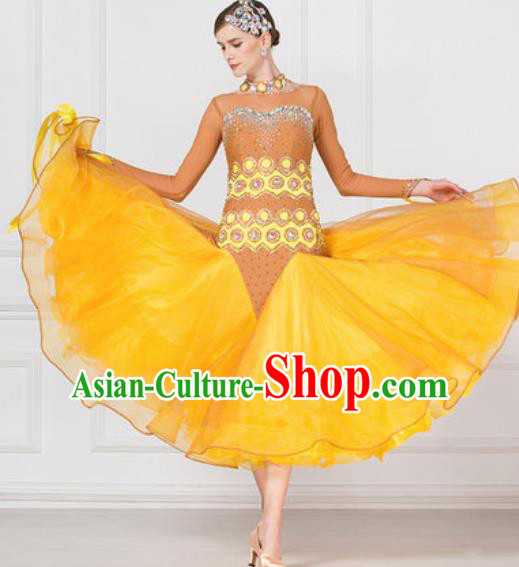 Professional Modern Dance Waltz Yellow Veil Dress International Ballroom Dance Competition Costume for Women