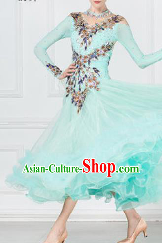 Professional Modern Dance Waltz Light Green Veil Dress International Ballroom Dance Competition Costume for Women