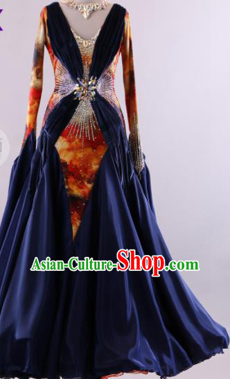 Professional Modern Dance Waltz Navy Dress International Ballroom Dance Competition Costume for Women