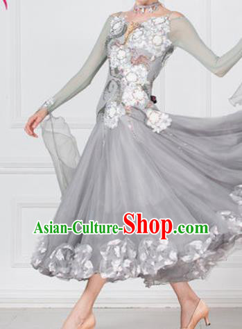 Professional Modern Dance Waltz Grey Dress International Ballroom Dance Competition Costume for Women