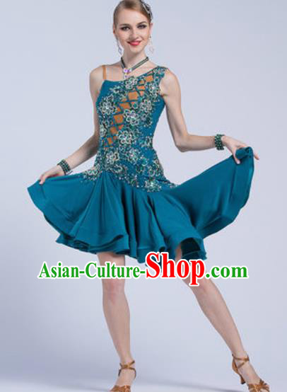 Top Latin Dance Competition Peacock Green Dress Modern Dance International Rumba Dance Costume for Women