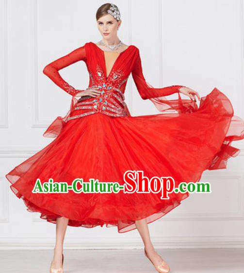 Professional Modern Dance Waltz Red Dress International Ballroom Dance Competition Costume for Women