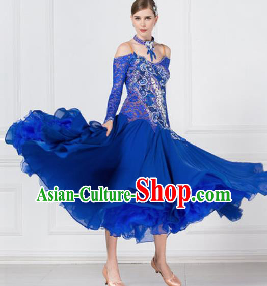 Professional Ballroom Dance Waltz Royalblue Lace Dress International Modern Dance Competition Costume for Women