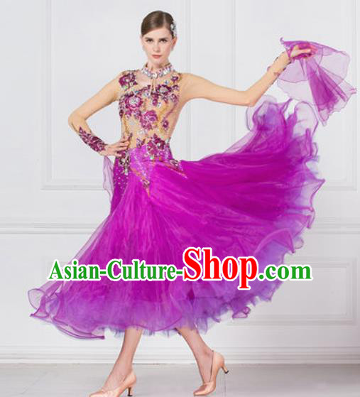 Professional Ballroom Dance Waltz Purple Dress International Modern Dance Competition Costume for Women