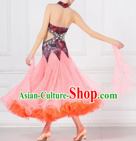 Professional Modern Dance Pink Dress Ballroom Dance International Waltz Competition Costume for Women