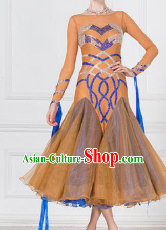 Professional Modern Dance Orange Dress Ballroom Dance International Waltz Competition Costume for Women