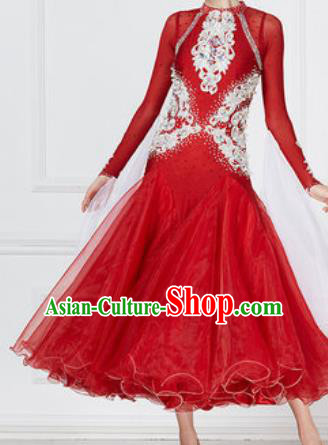 Professional Modern Dance Red Dress Ballroom Dance International Waltz Competition Costume for Women