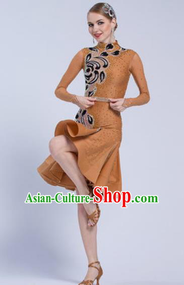 Professional Latin Dance Competition Brown Dress Modern Dance International Rumba Dance Costume for Women