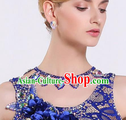 Handmade Latin Dance Competition Blue Crystal Necklet Modern Dance International Rumba Dance Necklace Accessories for Women