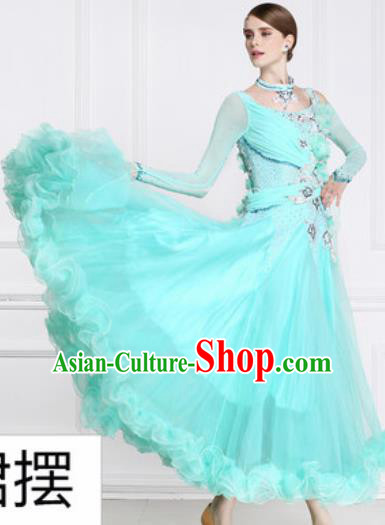 Top Waltz Competition Modern Dance Light Blue Dress Ballroom Dance International Dance Costume for Women