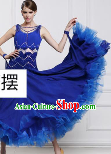 Top Waltz Competition Modern Dance Royalblue Dress Ballroom Dance International Dance Costume for Women
