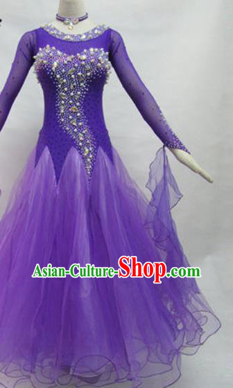 Professional Waltz Competition Modern Dance Purple Dress Ballroom Dance International Dance Costume for Women