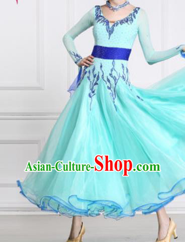 Professional Waltz Competition Modern Dance Light Blue Dress Ballroom Dance International Dance Costume for Women