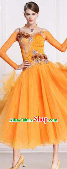 Professional Waltz Competition Modern Dance Orange Dress Ballroom Dance International Dance Costume for Women