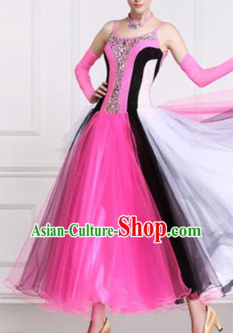 Professional Waltz Competition Modern Dance Rosy Dress Ballroom Dance International Dance Costume for Women