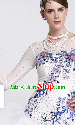 Professional Waltz Competition Modern Dance Embroidered White Dress Ballroom Dance International Dance Costume for Women