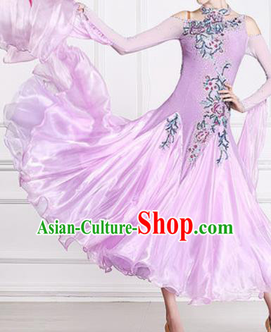 Professional Waltz Competition Modern Dance Lilac Bubble Dress Ballroom Dance International Dance Costume for Women