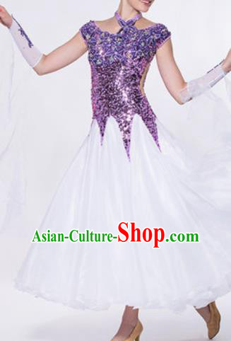 Professional Waltz Competition Modern Dance Purple Sequins Bubble Dress Ballroom Dance International Dance Costume for Women