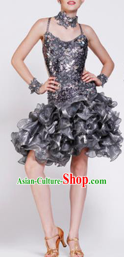 Professional Latin Dance Samba Grey Sequins Dress Modern Dance International Dance Competition Costume for Women