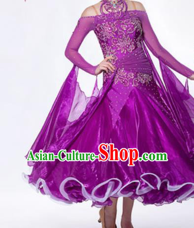 Professional Waltz Dance Purple Dress Modern Dance Ballroom Dance International Dance Costume for Women