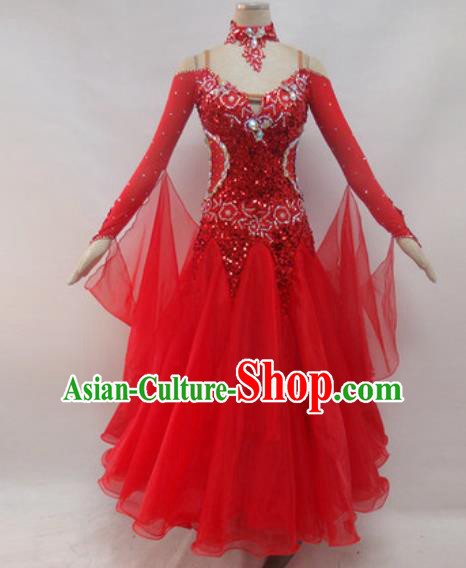 Professional Waltz Dance Red Sequins Dress Modern Dance Ballroom Dance International Dance Costume for Women